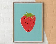 Wall Art Printable, Strawberry Print, Strawberry Colourful, Kitchen Fruit, Digital Download, Modern Minimalist, Sea Blue Print, Poster Print