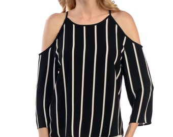 Stripped Cutout-Shoulder Top - Available in Black or White