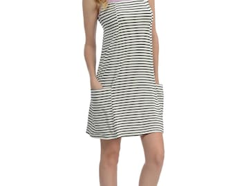 Purple Stripe Pocket Sheath Dress