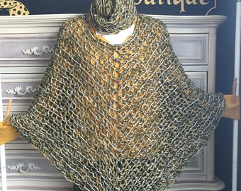 Olive, mustard and off white cape w/scarf