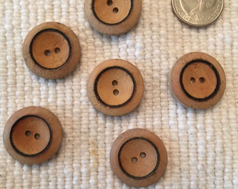 2 Hole Wooden Button set of 6
