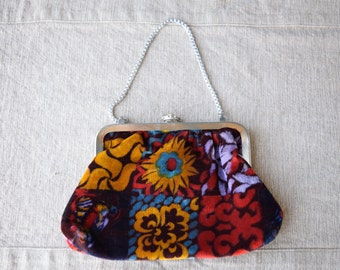 Vintage Velvet Evening Bag With Floral Design, Chain Handle