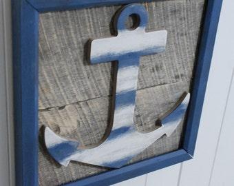 Beach Ships Anchor Nautical Wall Art Sign, Beach Decor