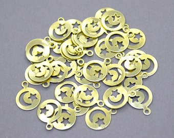 50 Raw Brass 10mm Moon and Star Charms   Moon Star Pendant, Brass Star Charms, Brass Moon Charms, Gold Moon Star Charm, Gold Moon