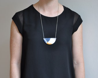 Polymer clay pendant necklace - Blue/Gold/White