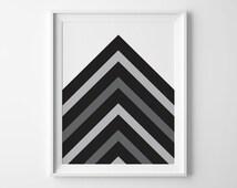 Chevron Digital Art, Printable Chevron Art, Black and White Wall Decor, Printable Art, Modern Minimalist Art, PNG file