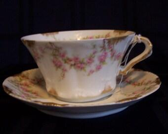 Vintage - Antique Theo Haviland Limoges Cup & Saucer