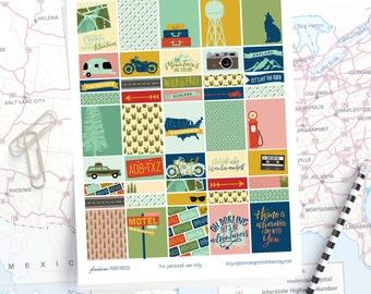 Wanderlust - Travel Planner Stickers - Erin Condren Vertical - Happy Planner - Road Trip, Camping, RV, Mountains, Woodland, Camper, USA