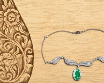 Necklace green stone malachite