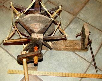 Nepali Vintage Stone Charkha Spinning Wheel, Nepal Charkha