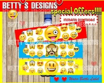 Emoji Water Bottle Label instant download, Printable Emoticons Water Bottle Label, Emojis Water Label, Emoji Party water label