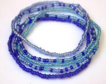Dark blue, light blue, and grey blue seed bead stretch bracelet, set of 5, boho