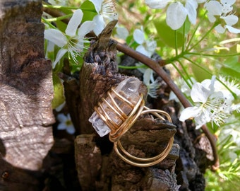 Wire wrapped crystal ring