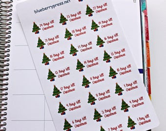 Christmas Countdown stickers | Planner Stickers | Limelife | Erin Condren | Happy Planner