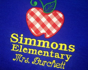 Monogrammed Teacher Shirt with Apple