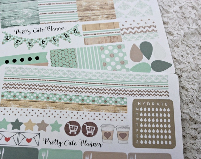 Happy Planner Planner Stickers - Weekly Planner Sticker Set - Happy Planner - Day Designer - Functional stickers - Minted Wood