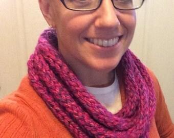 Layered circle scarf - Raspberry