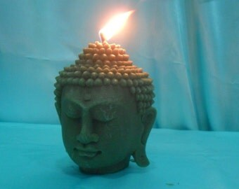 """Pure beeswax Buddha head candle. Buddha candle. Meditation candle. Zen atmosphere. Big size- Height 6"""""""