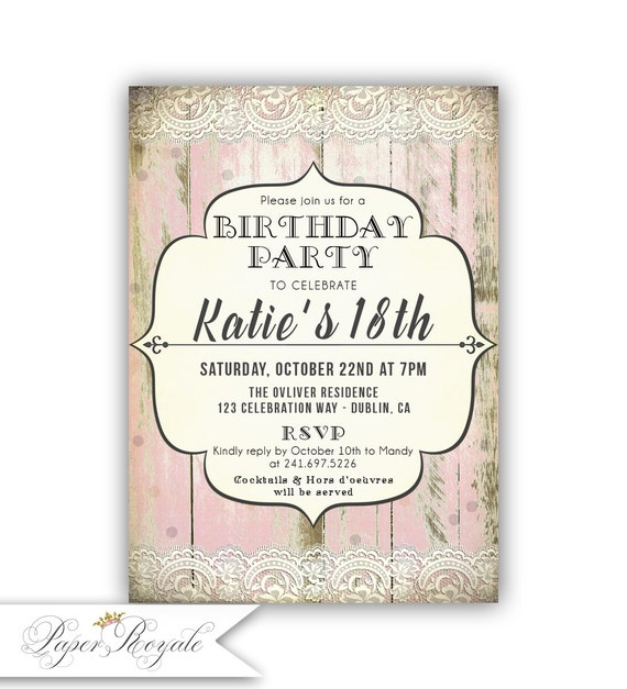 Teen Birthday Party Invitations For a Teenage girl Young – Teenage Girl Party Invitations