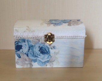 Decoupage box, Treasury box Rose, Wooden box, Storage box, Jewelry box, Memory box, Keepsake box, Vintage