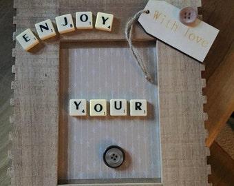 Enjoy your retirement Scrabble tile frame