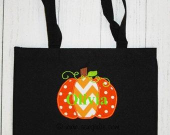 Monogrammed Pumpkin  Halloween Tote