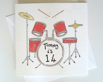 Personalised Drums Card, Drum Card, Drum Kit Card, Drummer Card, Musician's Card, Music themed Card. Please read item details.
