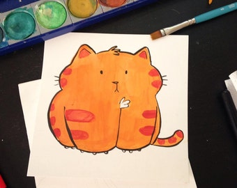 Orange Kitten Painting
