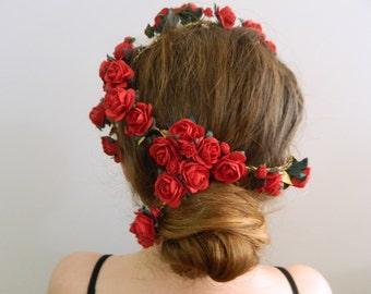 Red Rose Vine Headpiece