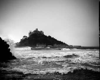 st michael's mount,cornwall,black and white,fine art print,iconic