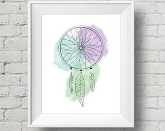 Dream Catcher Water Colour Print - Home Decor - Instant Download - Wall Art - Digital Print - Dream Print