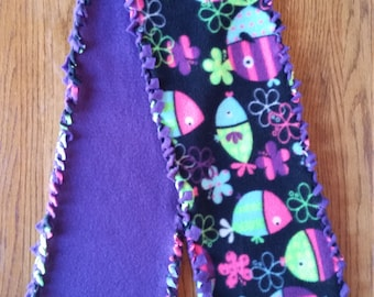 CLEARANCE Scarf Neon Fish Fleece no sew loop braid edges