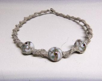 Natural Hemp Necklace w/ Glass Beads