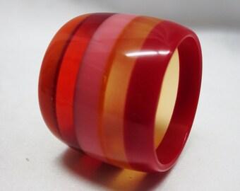 Extra Wide Striped Laminated Lucite Bangle Bracelet