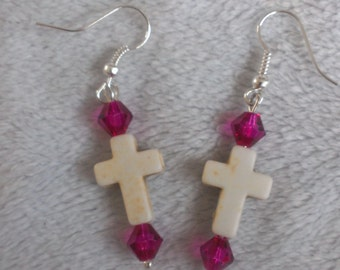 Beaded cross earring