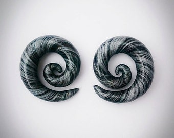 """Spiral Gauges, Black and Silver, small clay gauges 4g, 2g, 0g, 00g, 1/2"""""""