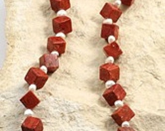 Designer chain blocks made of coral with SWP, 45 cm