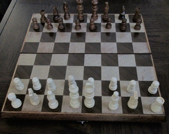 Chess/Checker Set with wooden case, refurbished Chess set
