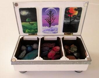 Stone box, jewelry box, storage box, unique box, handmade stone box, hand painted box