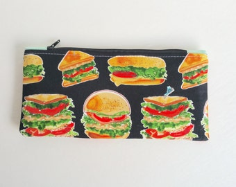 Nom Nom Hamburger and Sandwich Hungry Pencil Case Zipper Pouch Back to School, School Supply