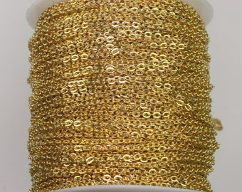 100feet Gold Plated Cable chain - 2x3mm Unsoldered Link, Flat Cable chain, Chain by the foot, Chain bulk chain from California USA