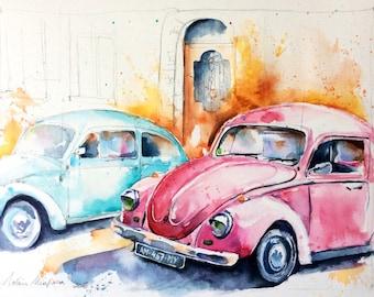 "Original watercolor - Free shipping ""Ladybug"" (car volkswagen beetle blue retro vintage pink)"