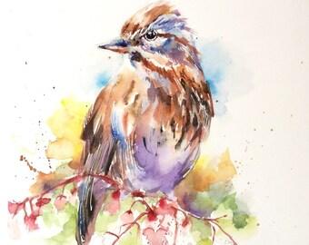 "Original watercolor - ""Bird song"" free shipping (bird spring flowers pink animal nature)"