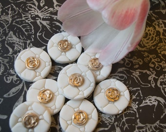 Chanel cupcake cake topper quilted white and gold designer party decor  edible gumpaste fondant double c logo 12 pieces