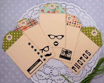 Handmade Travel Theme Gift Tags, Wanderlust Tags, Wanderlust Journal Tags, Travel Journal Tags, Journey Smash Book Tags, Set of 5