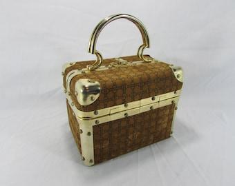 Free Shipping ~ Vintage Delill Italy Trunk Handbag~Purse~Deco Italian Purse~Makeup Bag