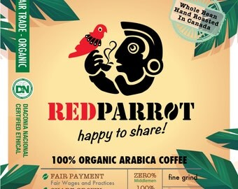 Red Parrot Coffee - 100% Organic Arabica, Fair Trade Organic, Certified Ethical, 7g x 10 regions fine grind coffee, set of 10, filter bag