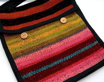 Multi coloured Hippy Bag handmade in Bolivia - Fair Trade, ethical handbag ideal for festivals, travel and holidays