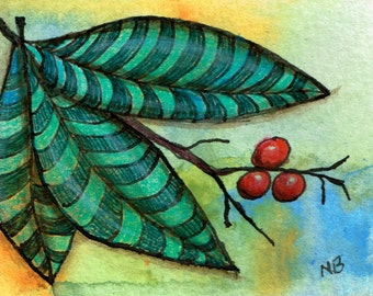 ATC or ACEO Original Acrylic Mixed Media Painting Striped Leaves