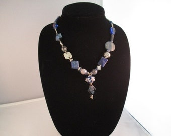 Chunky Necklace In Blue Tones